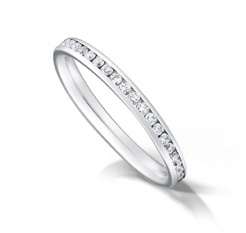 Channel set court eternity/wedding ring, platinum. 2mm x 1.7mm. 1/4 coverage